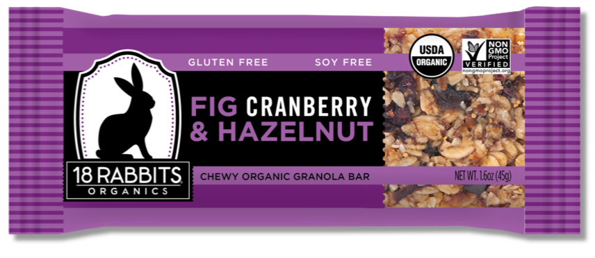 Healthy Office Snacks, 18 Rabbits Organics - Fig, Cranberry & Hazelnut