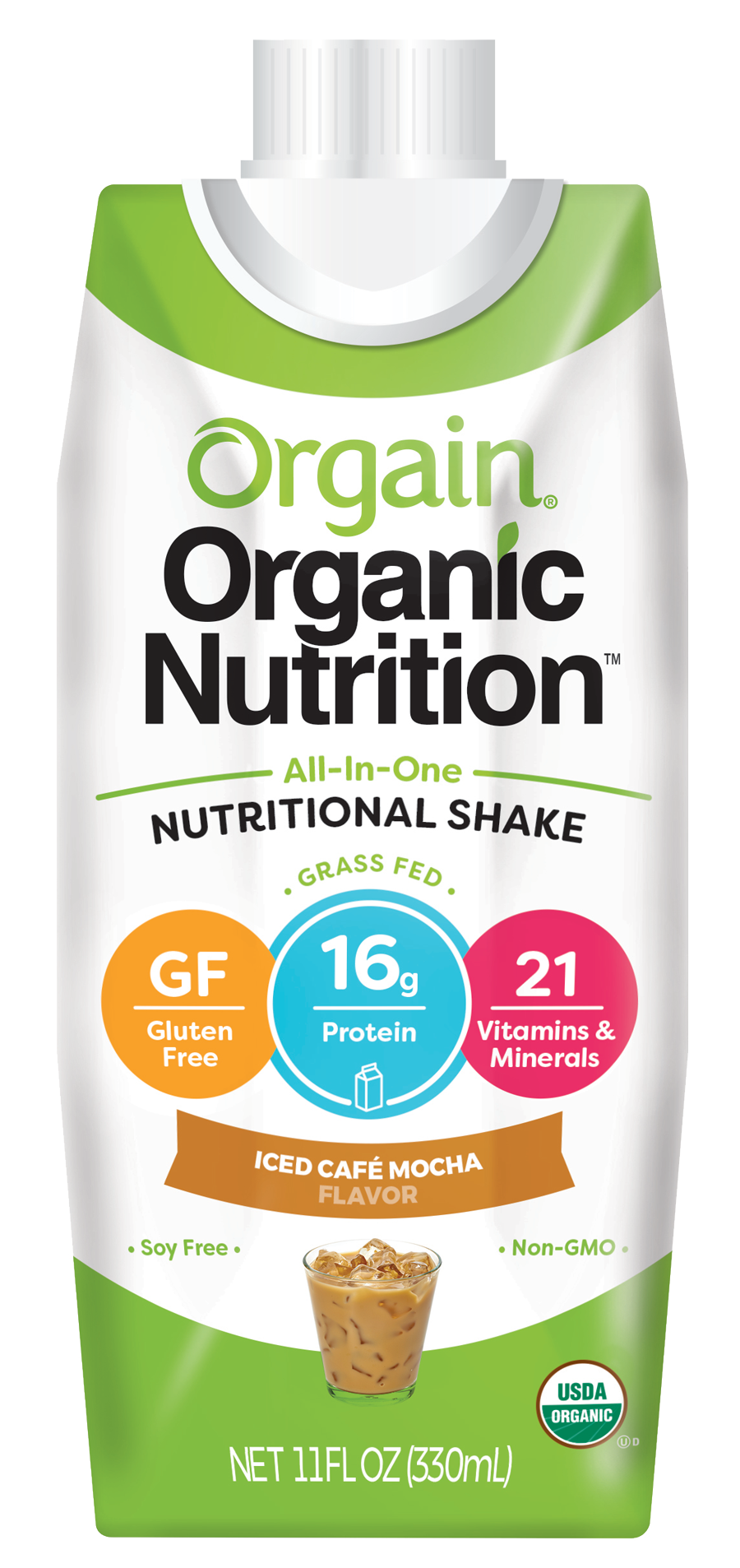 Healthy Office Drinks, Orgain Nutritional Shake - Iced Cafe Mocha