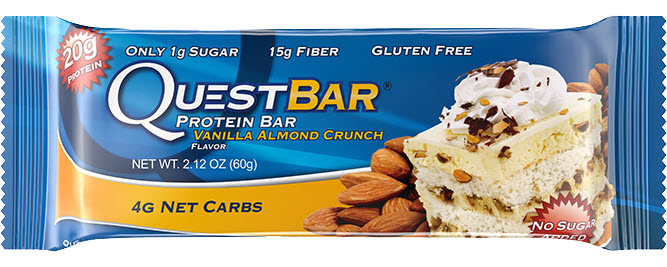 Healthy Office Snacks, QuestBar Vanilla Almond Crunch